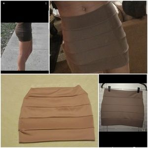 Khaki colored mini skirt
